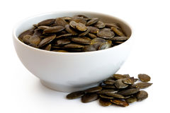 Hulled pumpkin seeds. stock photography