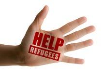 Hulp aan vluchtelingen, hulp aan migranten, open hand royalty-vrije stock afbeeldingen