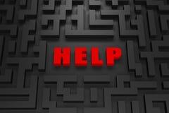Hulp - die in een 3d labyrint wordt verloren Royalty-vrije Stock Foto