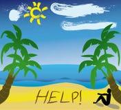 Hulp die in het zand wordt geschreven Stock Afbeeldingen
