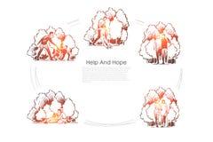 Hulp en hoop - mensen die andere mensen in reeksen van het moeilijke situaties de vectorconcept helpen vector illustratie