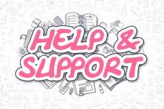 Hulp en Steun - Krabbel Magenta Tekst Bedrijfs concept stock illustratie
