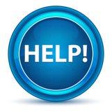 Hulp! Oogappel Blauwe Ronde Knoop stock illustratie