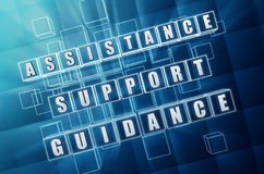 Hulp, steun, begeleiding in blauwe glaskubussen Royalty-vrije Stock Foto