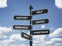 Hulp, steun, raads, begeleidings, hulp en informatiekruispunt s stock foto