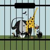 Hulpeloze die dieren in gevangenschap worden gehouden stock illustratie