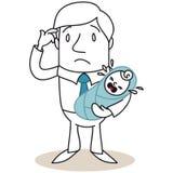 Hulpeloze vader met schreeuwende baby Royalty-vrije Stock Afbeeldingen