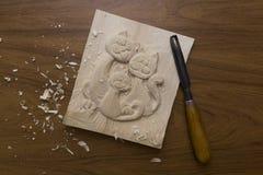 Hulpmiddel om woodcarving Stock Foto