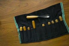 Hulpmiddel om woodcarving Stock Fotografie