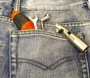 Hulpmiddelen in een zak van Jean Royalty-vrije Stock Afbeelding