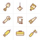 Hulpmiddelen en Bouwpictogrammen Royalty-vrije Stock Afbeelding