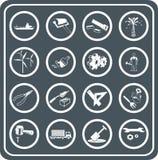 Hulpmiddelen en de industriepictogrammen Stock Foto's