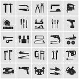 Hulpmiddelen en electrotool gedetailleerde pictogramreeks stock illustratie