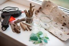 Hulpmiddelen en materialen voor creativiteit stock foto