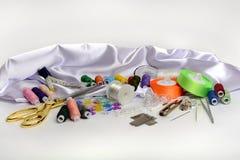 Hulpmiddelen en toebehoren voor het naaien Royalty-vrije Stock Foto