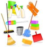 Hulpmiddelen en toebehoren voor het schoonmaken Royalty-vrije Stock Afbeelding