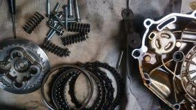Hulpmiddelen en vervangstukcomponent van motorfiets stock foto's