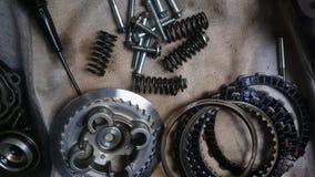 Hulpmiddelen en vervangstukcomponent van motorfiets stock afbeeldingen