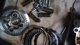 Hulpmiddelen en vervangstukcomponent van motorfiets royalty-vrije stock afbeelding