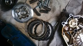Hulpmiddelen en vervangstukcomponent van motorfiets royalty-vrije stock fotografie
