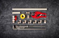 Hulpmiddelen en vervangstukken voor sanitaire technieksystemen Stock Foto