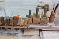 Hulpmiddelen om hout te snijden Royalty-vrije Stock Fotografie