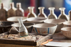Hulpmiddelen om sandpainting Stock Foto