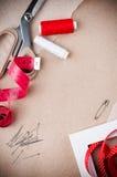 Hulpmiddelen om te naaien en met de hand gemaakt Stock Foto
