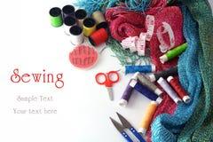 Hulpmiddelen om te naaien en met de hand gemaakt Stock Afbeelding