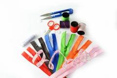 Hulpmiddelen om te naaien en met de hand gemaakt Stock Fotografie