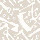 Hulpmiddelen op een wit naadloos patroon als achtergrond Stock Fotografie