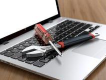 Hulpmiddelen op laptop royalty-vrije illustratie