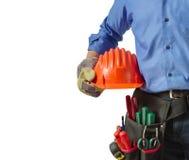 Hulpmiddelen van de Workerin sluiten de eenvormige holding, omhoog mening Stock Foto's