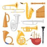 Hulpmiddelen van wind de muzikale die instrumenten op witte het orkest vectorillustratie van het achtergrond akoestische musicusm royalty-vrije illustratie