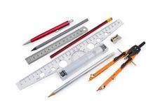Hulpmiddelen voor draftsmanship op een witte achtergrond stock fotografie