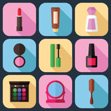 Hulpmiddelen voor Geplaatste Make-uppictogrammen Stock Foto