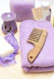 Hulpmiddelen voor lichaamsverzorging in de kuuroordsalon Stock Fotografie