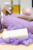 Hulpmiddelen voor lichaamsverzorging in de kuuroordsalon Royalty-vrije Stock Foto