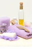 Hulpmiddelen voor lichaamsverzorging in de kuuroordsalon Royalty-vrije Stock Foto's