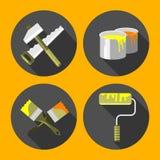 Hulpmiddelen voor reparatie, verfborstel, verfblikken, zaag, hamer, rol, vlakke stijl, Stock Afbeelding