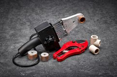 Hulpmiddelen voor water en het verwarmen installatie Stock Afbeeldingen