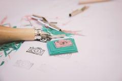 Hulpmiddelen voor zegel het maken stock afbeeldingen