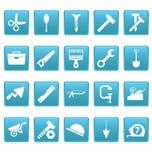 Hulpmiddelenpictogrammen op blauwe vierkanten Royalty-vrije Stock Foto's