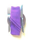 Hulpmiddelreeks op dinerlijst Stock Foto's