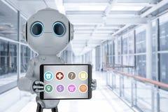 Hulprobot met tablet royalty-vrije illustratie