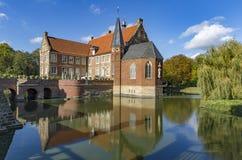 Hulshoff moated castle in North-Rhine Westphalia. Germany royalty free stock photos