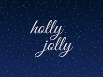 Hulst heel Kerstmis het van letters voorzien met sneeuwvlokken Vector stock illustratie