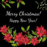 Hulst, poinsettia en maretak Kerstmis en de nieuwe kaart van de jaargroet Stock Afbeelding