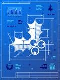 Hulstbes zoals blauwdruktekening Royalty-vrije Stock Afbeeldingen