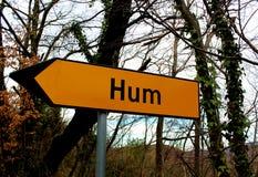 Hum Croatia road direction sign Stock Photos
